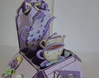 Time for tea 3D Handmade pop up card