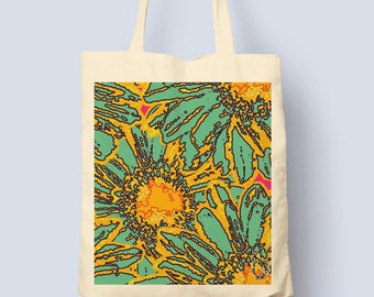 Retro Blooms Printed Tote Bag - Hand Drawn Design