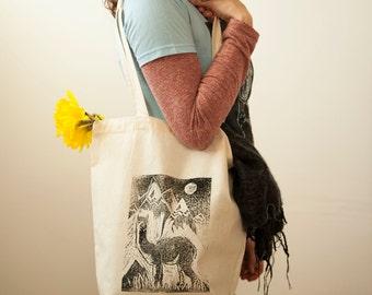 Alpaca Print Tote, Shopping Tote, Cotton Tote, Linocut, Hand Printed, Alpaca Tote Bag