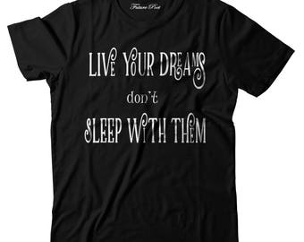 Women's Black T-shirt with inspirational quote (Live)