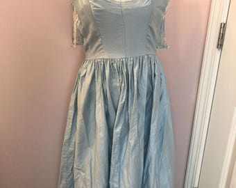 Vintage Dress 1950s/60s Light Blue and Cream Handmade Size S