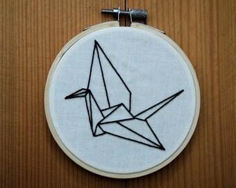 Embroidery Origami Crane