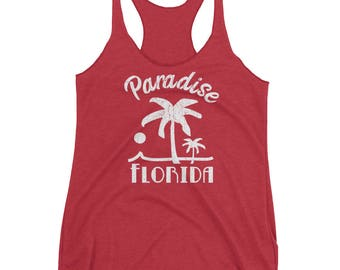 Florida Palm Tree Paradise Racerback Tank Top Womens Tropical Beach Vacation Shirt Travel Vintage Design Distressed Graphic Tee Yoga Workout