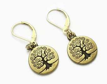 Tree of Life Dangle Earrings Brass Oxide Over Pewter  Leverback Earwires Maze Meditation Spirituality