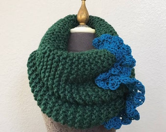 The River Cowl in Pine Green with Crocheted Lace by Fringe