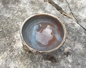small ceramic bowl in slate blue and brown