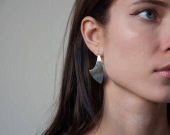 sterling silver modernist sculptural drop earrings / dangle earrings / minimalist earrings / 1794a