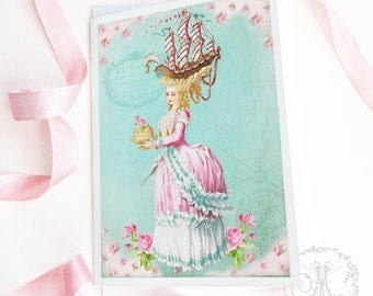 Marie Antoinette, fun, let them eat cake card, birthday card, friendship card, blank all occasion card