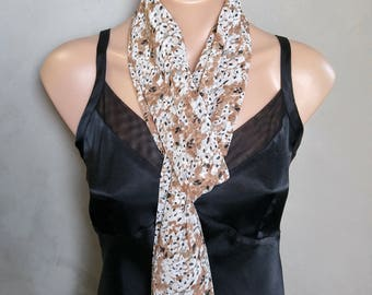 Floral Extra Long Sheer Chiffon Skinny Scarf Tiny Blossom Scarf White Floral Scarf Tan Scarf Floral Skinny Scarf