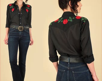 ViNtAgE 80's Rockmount Western Shirt  Embroidered Roses Made in USA Black Red Floral Western Shirt rockabilly country rocker S M