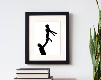Father's Day Custom Silhouette Print -  with 2 figures (family, father & child) - made from your photo, family portrait - Father's Day Gift
