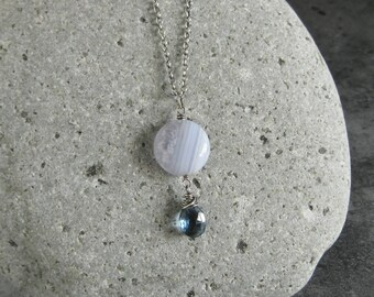 Blue Lace Agate Necklace Blue Quartz Teardrop Long Pendant Oxidized Sterling Silver Chain