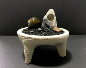 Alien Planet Footed Handmade Concrete Bowl with Rare Tiger Eye Sphere