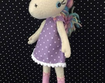 Handstitched Unicorn Felt Doll Plush Softie Keepsake Doll