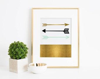 Arrows Art Print, Mint, black and gold arrows art print, Digital Art, Nursery Art Print, Office Art Print, Arrows Wall Art, Tribal Arrow art