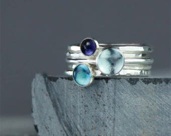Blue Gemstone and Silver Stacking Rings, Hammered Silver Stackable Rings, Two Shades of Blue Topaz with Iolite, Set of Five Rings