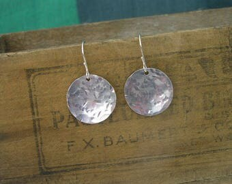 Hammered Rustic Lightweight Circle Silver Aluminum Earrings on Sterling Silver Ear Wires