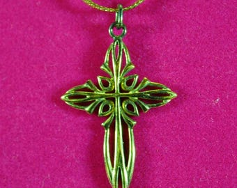 Vintage Gold over Sterling  Filigree Large Cross Pendant on 14K GF PPC Chain