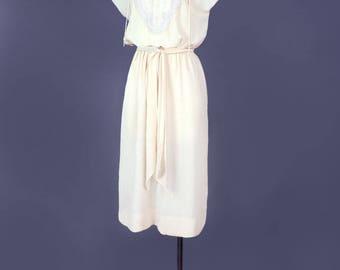 1970's Vintage Sheer Ivory Beaded Dress - Boho, Disco era, Bohemian Style, Wedding Dress, Bridal