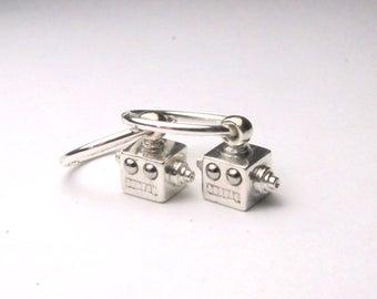 silver robot earrings microbot head