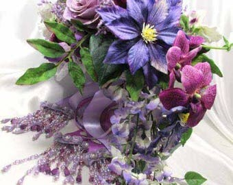 Radiant Orchid Purple, Violet, Lavender, Burgundy and White Cascading Bridal Brooch Bouquet Ready to Ship