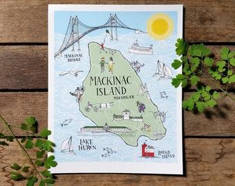 Mackinac Island map illustration print