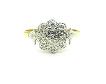 18ct Platinum Antique diamond cluster Engagement ring English Edwardian~1920s Milgrain daisy halo wedding anniversary birthday*FREE SHIPPING