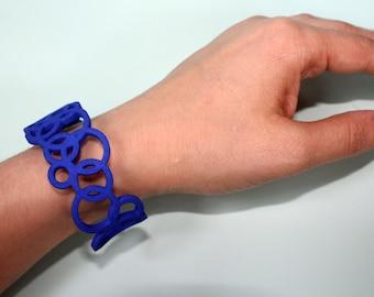 Geometric bracelet. Cuff bracelet. Royal blue bracelet. Everyday bracelet. 3D printed cuff. Statement bracelet. 3D printed bracelet
