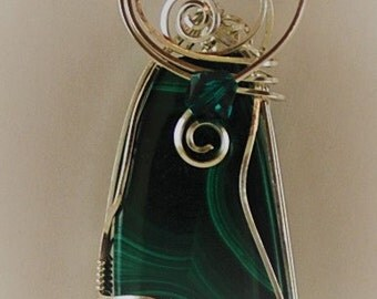 Necklace Pendant Malachite with Sterling Silver wire wrap P298