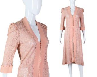 30s Lace Dress 1930s Blush Pink Dress Scalloped Edge Jacket or Overdress