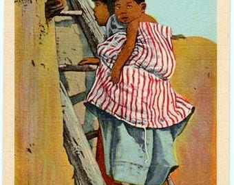Vintage Arizona Postcard - Hopi Children climbing a Ladder (Unused)