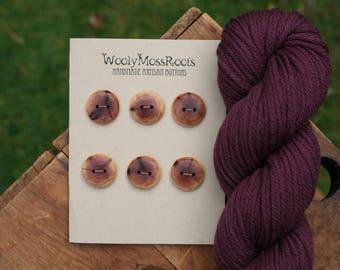 6 Red Cedar Buttons- Red Cedar Wood- Wooden Buttons- Knitting Buttons, Crafting Buttons