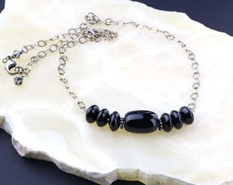 Black Onyx Necklace, Black Gemstone and Oxidized Sterling Silver, Bar Necklace, Choker, Unisex, Gift for Him or Gift for Her