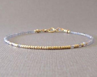 Delicate Labradorite Bracelet/ Labradorite Gemstone Bracelet/ Labradorite Beaded Bracelet/ Labradorite Layering Bracelet Friendship Bracelet