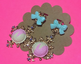 Baroque Style Statement Pastel Ice Cream Scoop Mint Bow Post Earrings