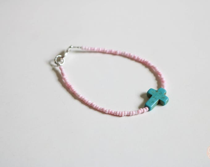 Baby Pink and Turquoise Cross Seed Bead Bracelet.