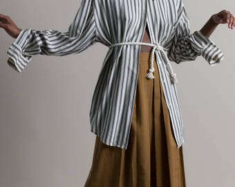 Vintage 90s Black White Striped Top / Oversized Shirt / Silk Button Up