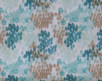 Teal and Brown Watercolor Design on White Background 100% Cotton Quilt Fabric Blender, Flora by Windham Fabrics, WIF40716-8