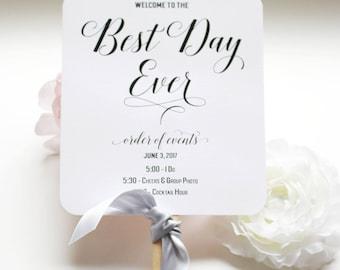 Best Day Ever Program Fan, Wedding Fan Programs, Beach Wedding Fans, Destination Program Fans - The Best Day Ever Wedding Program Fan SAMPLE