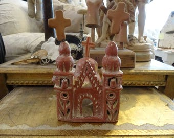 Vintage Religious Primitive/Folk Art Spanish Colonial Country Church w/3Crosses.Fab.