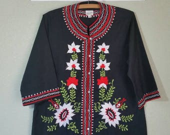 Vintage Embroidered Tunic by Leandra Crochet and Embroidery, 60s