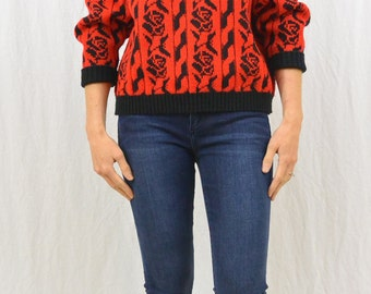 Vintage Rose Print Sweater, Size Small, 80's Sweater, Red Sweater, Quirky, Hipster