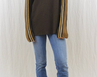 Vintage Fuzzy Soft Brown Striped Sweater Size Large XL 90s Y2k