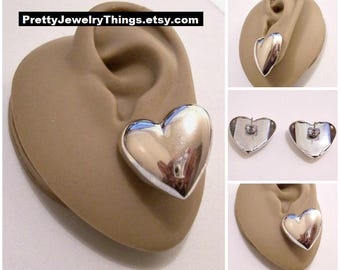 Avon Big Bold Heart Button Pierced Post Stud Earrings Silver Tone Vintage Large Puffed Mirror Smooth Finish Discs Surgical Steel Posts