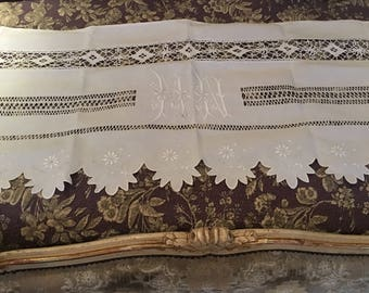Long French Country Antique Monogram Curtain, Bed Pillow Cover, or Shelf Mantle Cover
