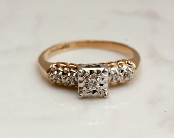 Vintage MidCentury 14k Solid Yellow and White Gold Illusion Setting with Side Accents Diamond Engagement Ring, Size 6