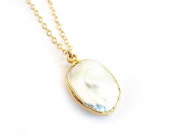 Pearl Necklace-Dainty Necklace, Pearl, Gold Necklace, Layering necklace
