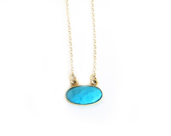 Turquoise Oval Necklace-Dainty Necklace, Turquoise Jewelry, Layering, Gold Necklace