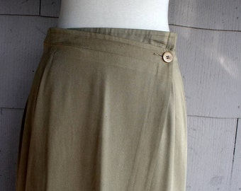 Vintage Calvin Klein Skirt 90s Minimalist Silk Blend / Medium Small