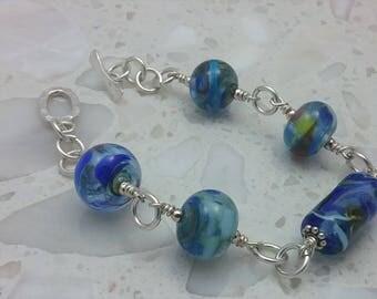Beaded Lampwork Bracelet & Silver